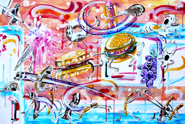 1.7.13  > Breakfast Vs. Lunch Revisited > 36x24 inch Acrylic Painting on canvas > CLICK IMAGE TO PURCHASE