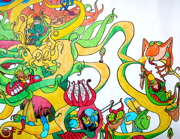 12.3.12  >   III > Winding Round The Tree > Highschool Classics > Colored Pencil on paper >     NOT AVAILABLE FOR PURCHASE