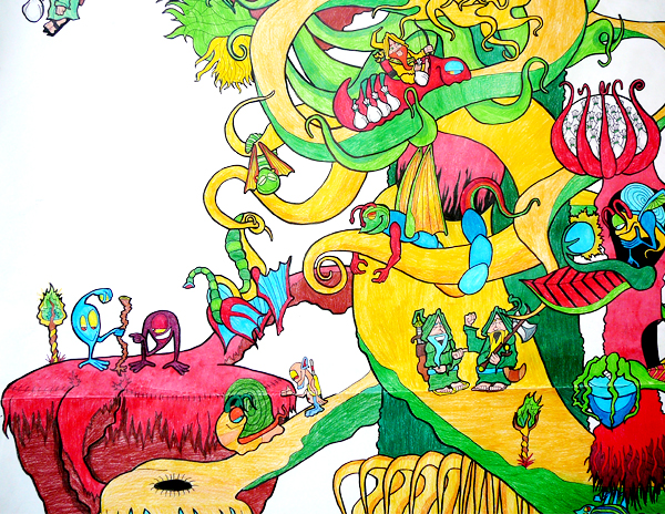12.5.12  >   V > Winding Round The Tree > Highschool Classics > Colored Pencil on paper > NOT AVAILABLE FOR PURCHASE