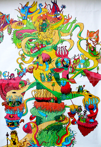 12.13.12  > Branches To The Future   > Highschool Classics > 48x72 inch Colored Pencil Drawing on paper >     NOT AVAILABLE FOR PURCHASE