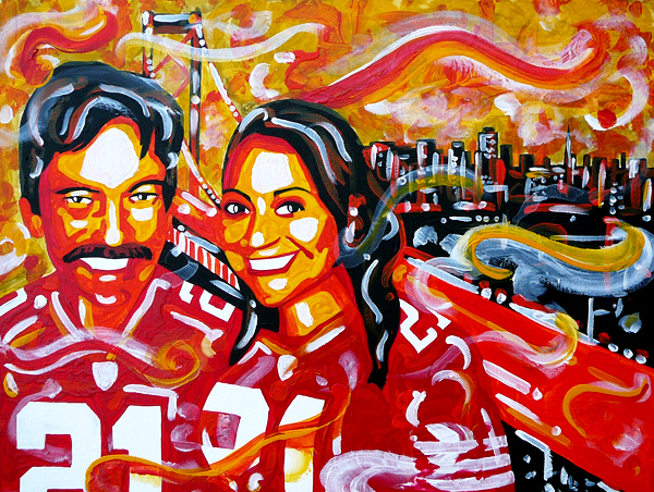 12.23.13  > Father, Daighter, The City > 36x24 inch Acrylic Painting on canvas > NOT AVAILABLE FOR PURCHASE