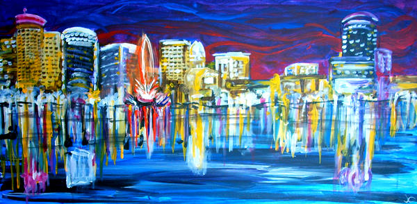 10.21.12  > Reflecting Orlando > 48x24 inch Acrylic Painting on canvas > NOT AVAILABLE FOR PURCHASE