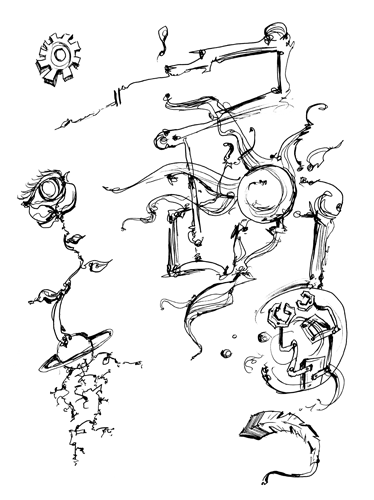 3.26.14  > Planetary Machinists > 8.5x11 inch Pen Drawing on paper > CLICK IMAGE TO PURCHASE