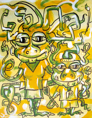 5.26.12  > I Think Im An Alien Too > 11x14 inch Acrylic Painting on canvas > NOT AVAILABLE FOR PURCHASE