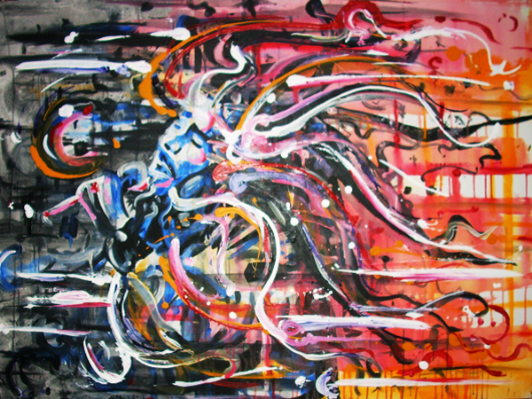 10.3.11  > War On Fear With Love > 48x36 inch Acrylic Painting on canvas > NOT AVAILABLE FOR PURCHASE