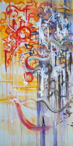 9.1.11  > Two Minds Inside > 24x48 inch Acrylic Painting on canvas. Live Painted 8.25.11. > NOT AVAILABLE FOR PURCHASE