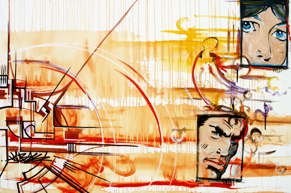 9.29.11  > Collaboration with Eric Evenson and Brian Hebets > 72x48 inch Acrylic Painting on canvas. Live Painted 9.22.11. > CLICK IMAGE TO PURCHASE
