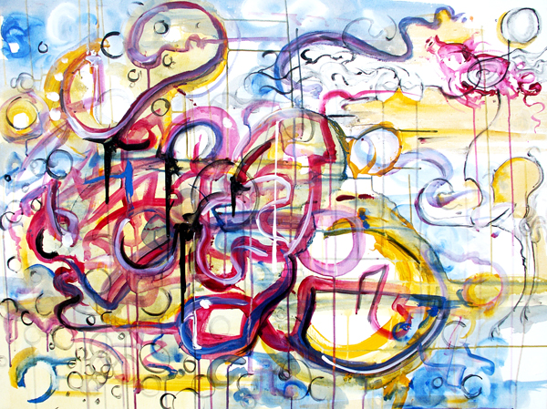 12.9.10  > Insomniatic Revolution > 40x30 inch Acrylic Painting on canvas > CLICK IMAGE TO PURCHASE
