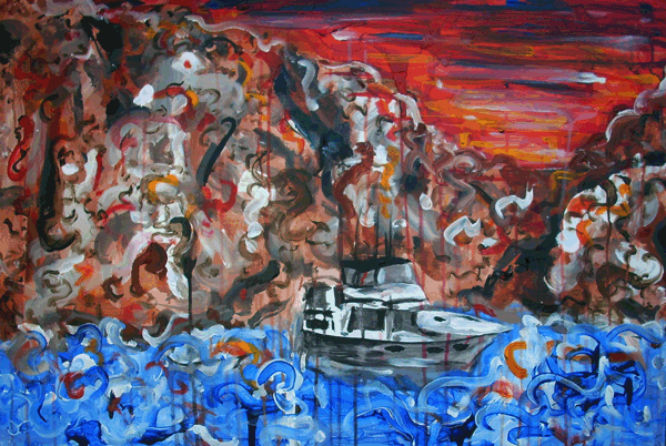 12.10.10  > Lost At Sea > 36x24 inch Acrylic Painting on canvas > NOT AVAILABLE FOR PURCHASE