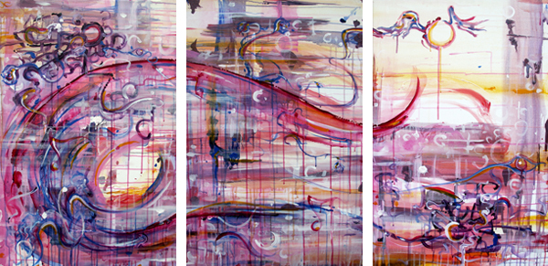 12.15.10  > Soular Coallision > Set of 3 24x36 inch Acrylic Paintings on canvas > CLICK IMAGE TO PURCHASE