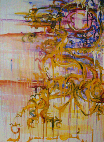 11.23.10  > Sunlit Wings With Passion Feathers >   36x48 inch Acrylic Painting on canvas. Live Painted 11.18.10.   > NOT AVAILABLE FOR PURCHASE