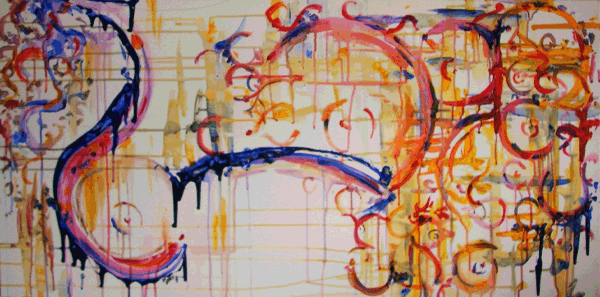 11.29.10  > Northern Eyes > 48x24 inch Acrylic Painting on canvas. Live Painted 11.24.10. > NOT AVAILABLE FOR PURCHASE