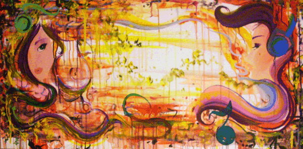 8.26.10  > Continued Collab With Kiska Zilla >   48x24 inch Acrylic Painting on canvas. Live Painted 8.27.10. > NOT AVAILABLE FOR PURCHASE