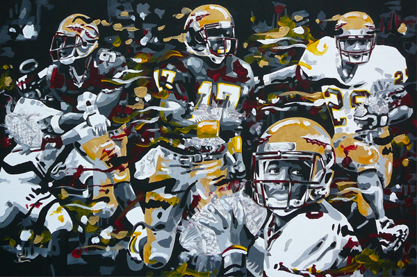 7.14.14  > Three Ships. Four Champions. > Page One > 36x36 inch Acrylic Painting on canvas > CLICK IMAGE TO PURCHASE