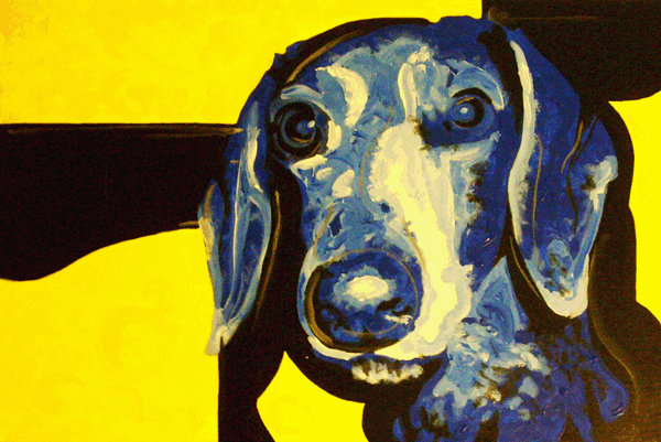 3.24.10  > Dog Californianized > 36x24 inch Acrylic Painting on canvas > NOT AVAILABLE FOR PURCHASE