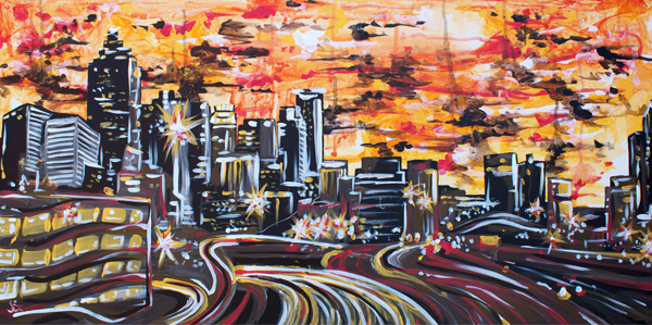 8.28.14  > Midtown > 48x24 inch Acrylic Painting on canvas > CLICK IMAGE TO PURCHASE