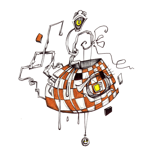 9.27.14  > Checkers On A Chess Board > 8.5x11 inch Pen Drawing on paper > CLICK IMAGE TO PURCHASE