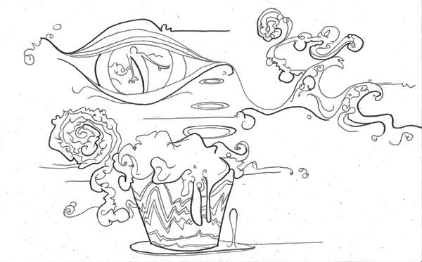 9.30.09  > The Cupcake Shake > 11x8.5 inch Pen Drawing on paper > NOT AVAILABLE FOR PURCHASE