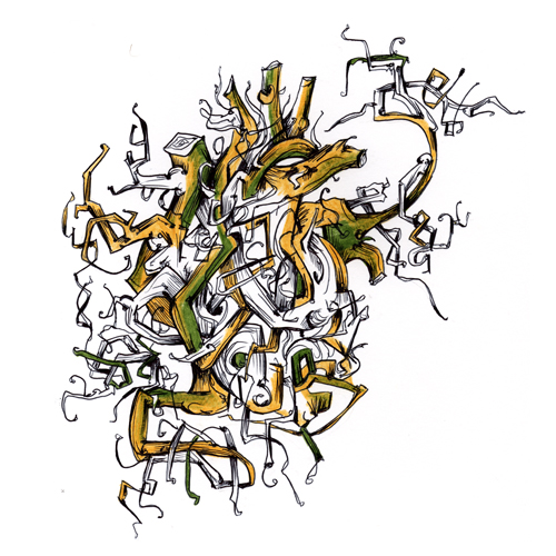 3.4.15  > Circulation Growing > 8.5x11 inch Pen Drawing on paper > CLICK IMAGE TO PURCHASE
