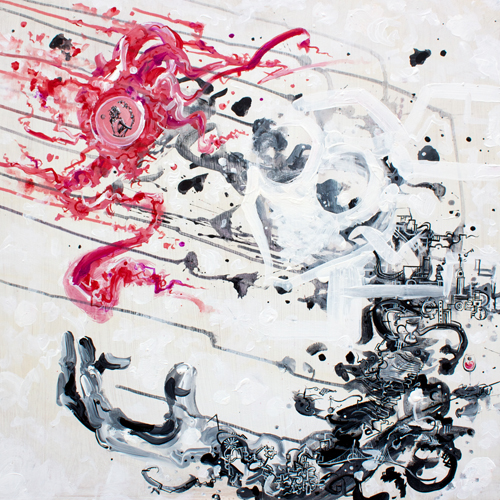 The Mechanic: Alkaline Dreams > 24x24 inch Acrylic Painting on wood