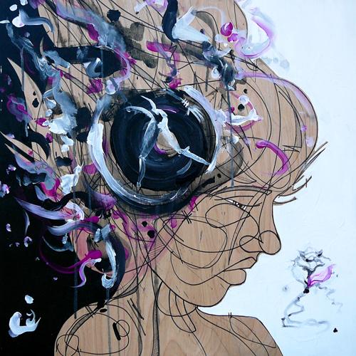 Growing Goodbye > 24x24 inch Acrylic Painting on wood