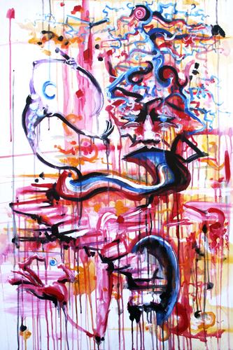 Climbing Toward Eruption > 24x36 inch Acrylic Painting on wood