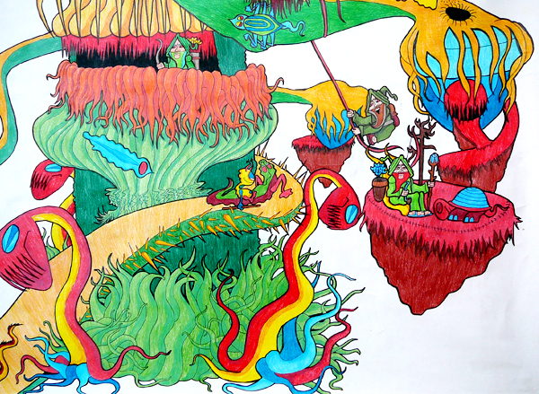 12.11.12  > X  I > Winding Round The Tree > Highschool Classics > Colored Pencil on paper >     NOT AVAILABLE FOR PURCHASE