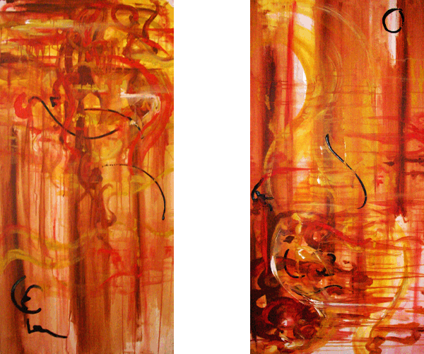 1.29.10  > Samurai Attacking Rich Mahogany > Pair of 24x48 inch Acrylic Paintings on canvas > NOT AVAILABLE FOR PURCHASE