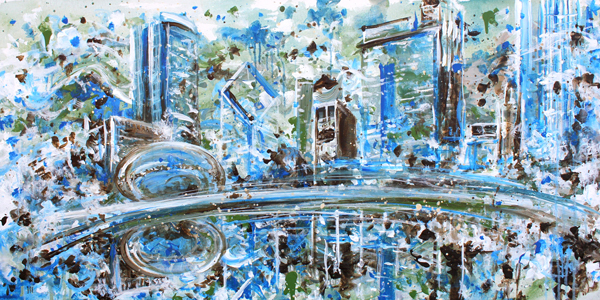 3.4.16   > Impression Four > 48x24 inch Acrylic Painting on canvas > CLICK IMAGE TO PURCHASE