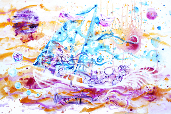 8.14.16  > Melting Pirate Blues > 36x24 inch Acrylic Painting on canvas > CLICK IMAGE TO PURCHASE