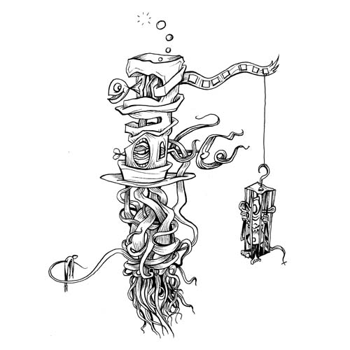 10.31.17  > That Man Has Fish In His Hat > 8x8 inch Pen Drawing on paper > CLICK IMAGE TO PURCHASE
