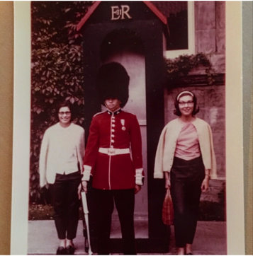 Left, my mom and her friend Judy, in London. C. 1960-something