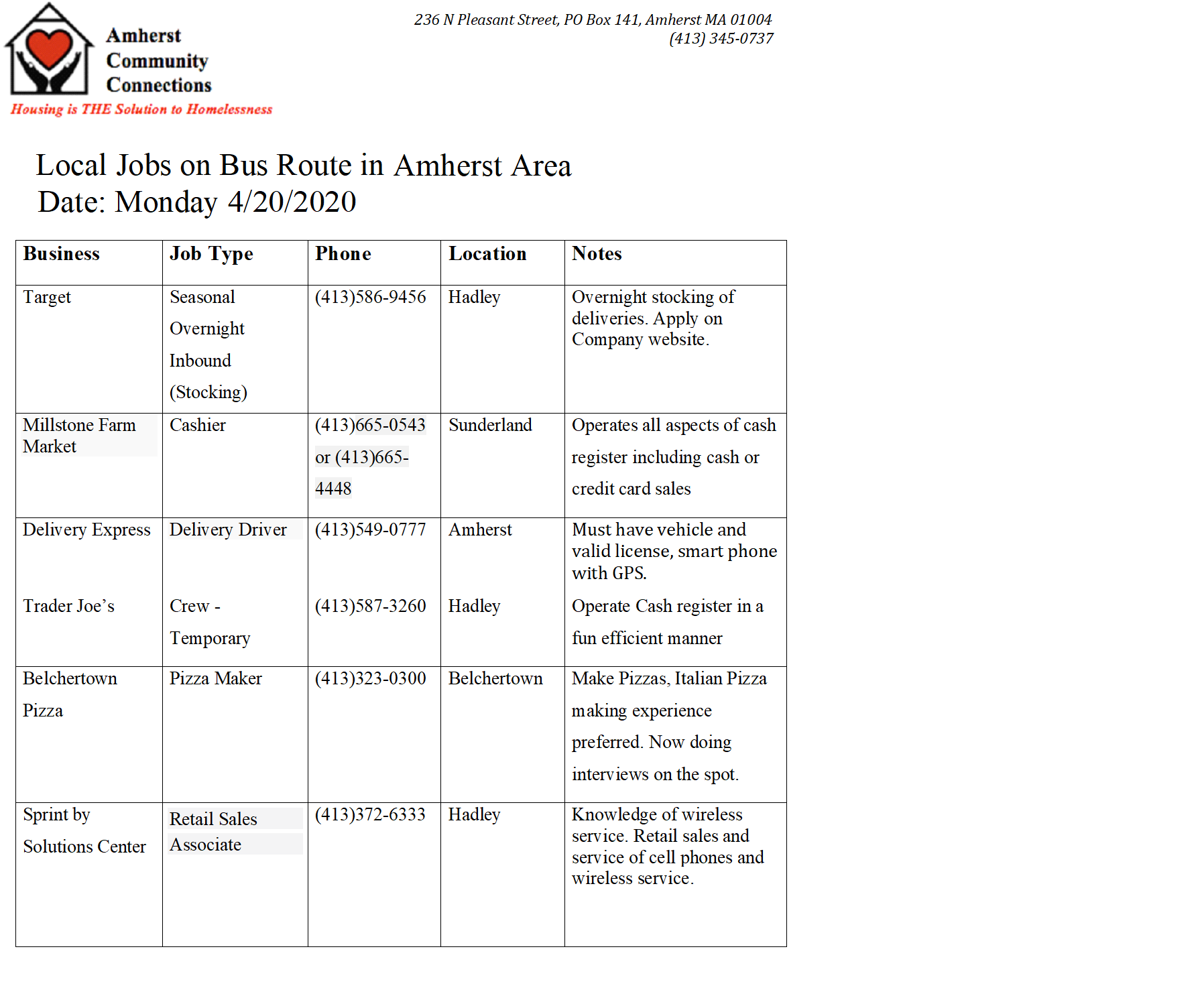 jobs in local area monday 4  20  2020  u2014 amherst community