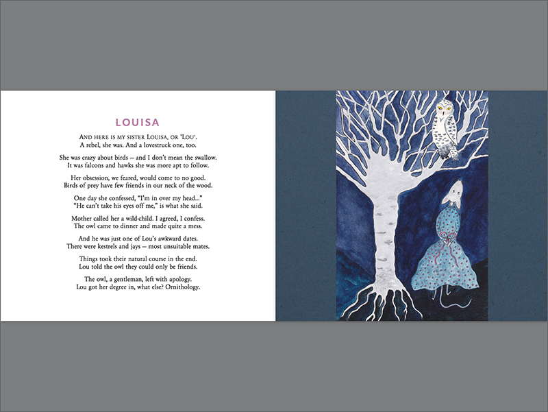 This is the flat view of a spread from Swing with Me in My Family Tree . Print book design byAhmad Dowla. Radish Moon Press.