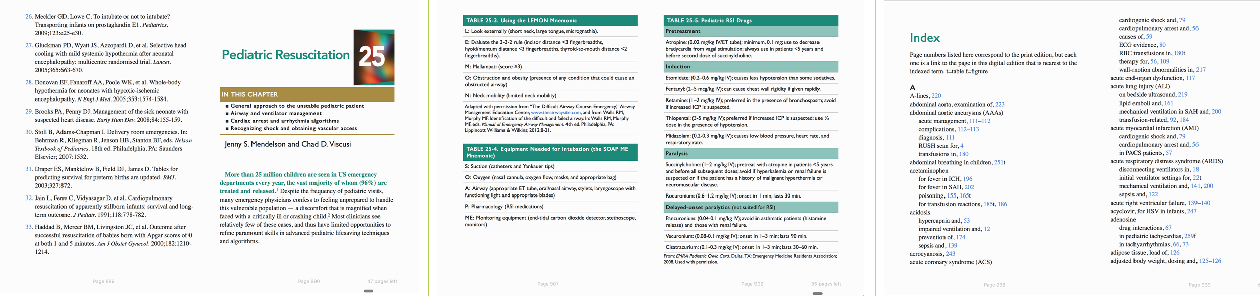 3 ebook spreads from  Emergency Department Resuscitation of the Critically Ill , 2nd Edition. Note (from left) linked references, detailed chapter opener; clear, clean tables; fully linked Index.