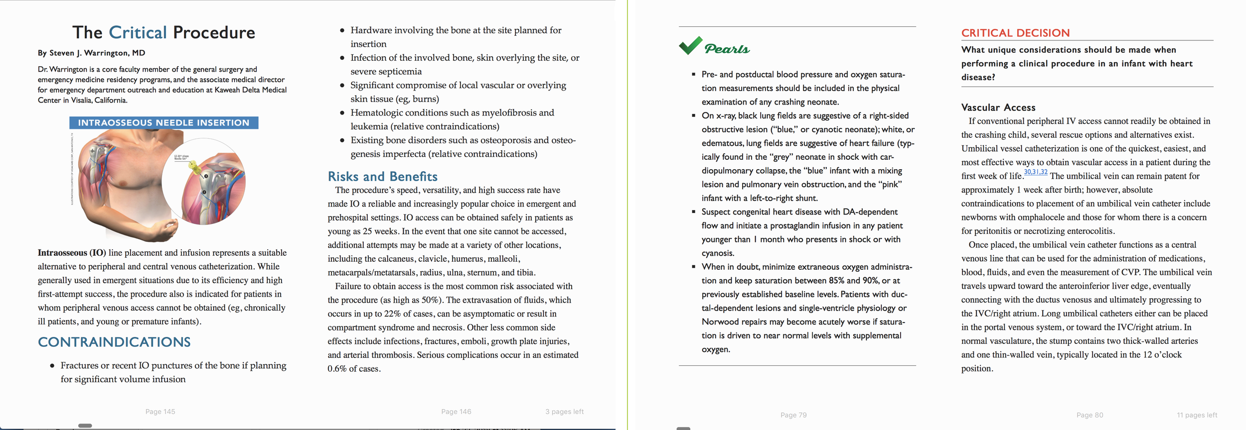 2 spreads from  Critical Decisions in Emergency Medicine , a compendium of 2016 journal articles.