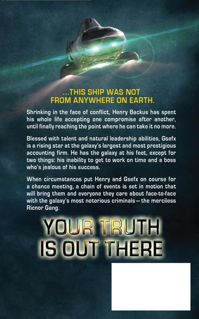 Back cover for Your Truth is Out There. Art by Stephen Youll. Design by Jamie Youll