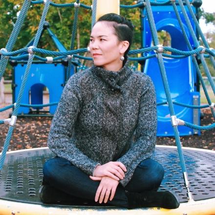 Kat Holmes at a playground.