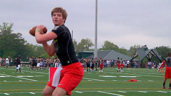 TOM HAUCK/ESPNHS Quarterback Max Staver, pictured at the Elite 11 in Buford, Ga. in March, is the No. 5 propsect in the state of Tennessee.