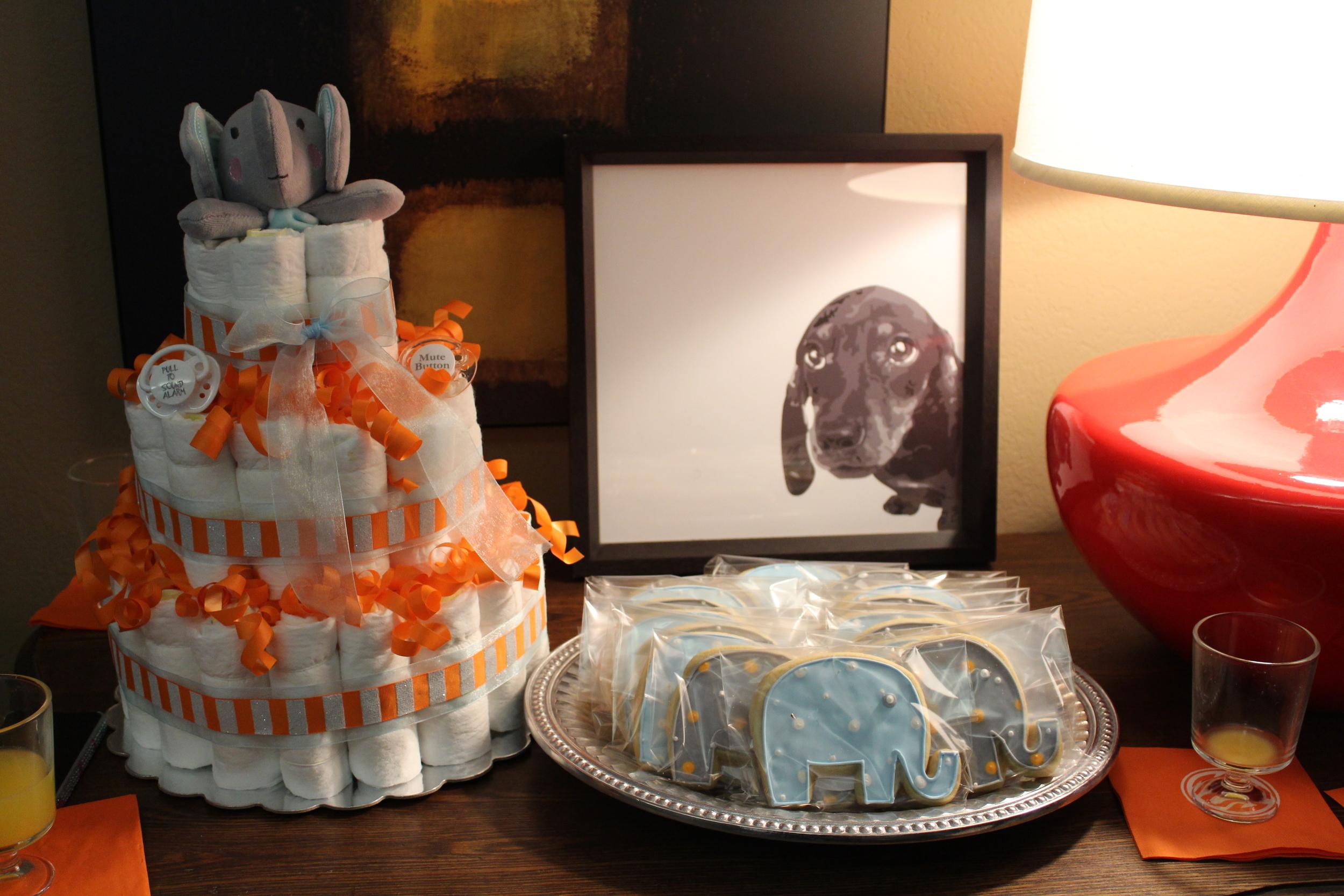 diaper cake and cookies