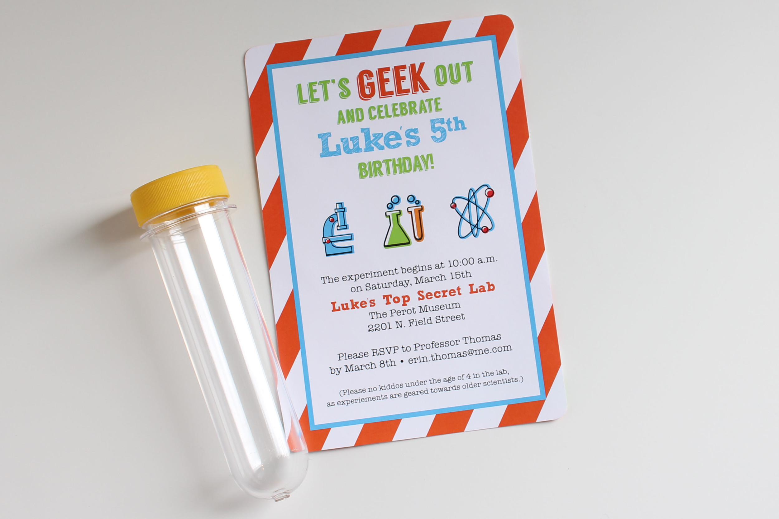 custom invitation birthday science
