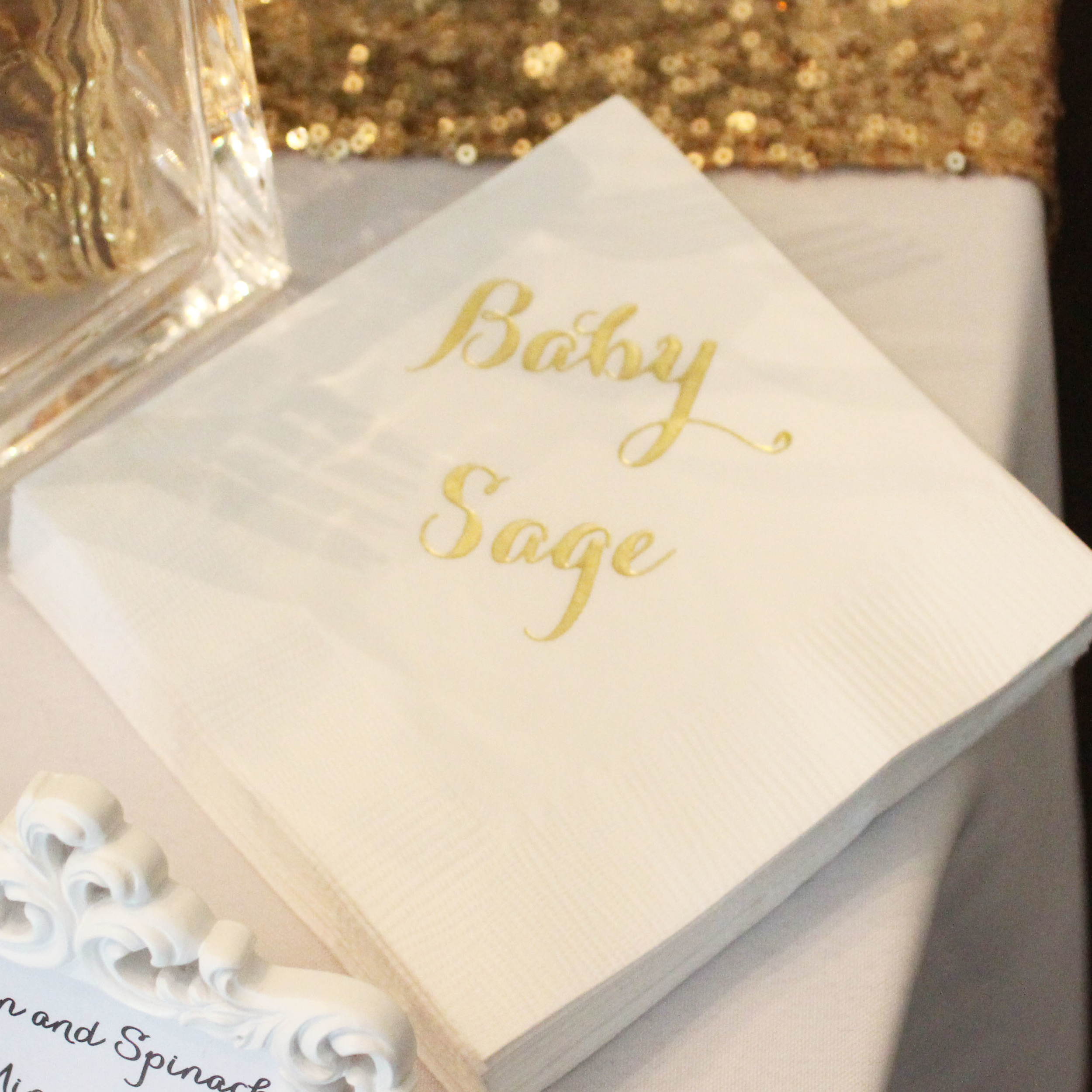napkin baby shower custom gold imprint