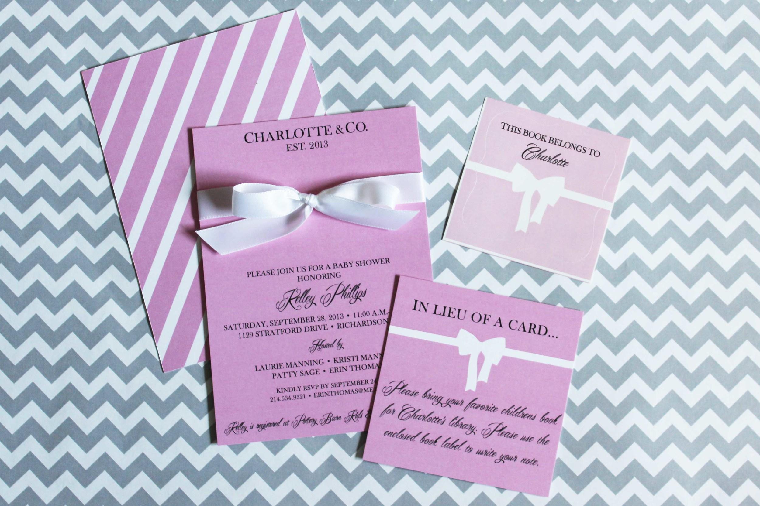 bookplate custom invite baby shower
