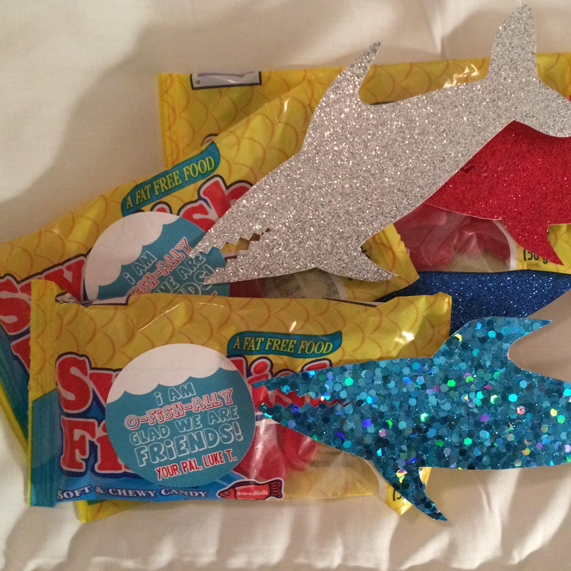 shark valentine DIY candy sticker label boy
