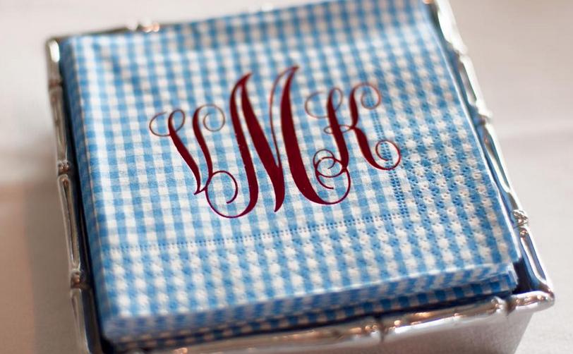 blue gingham napkin monogrammed