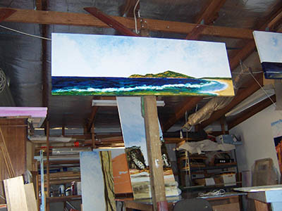 large 60cm x 180cm oil drying in The Studio