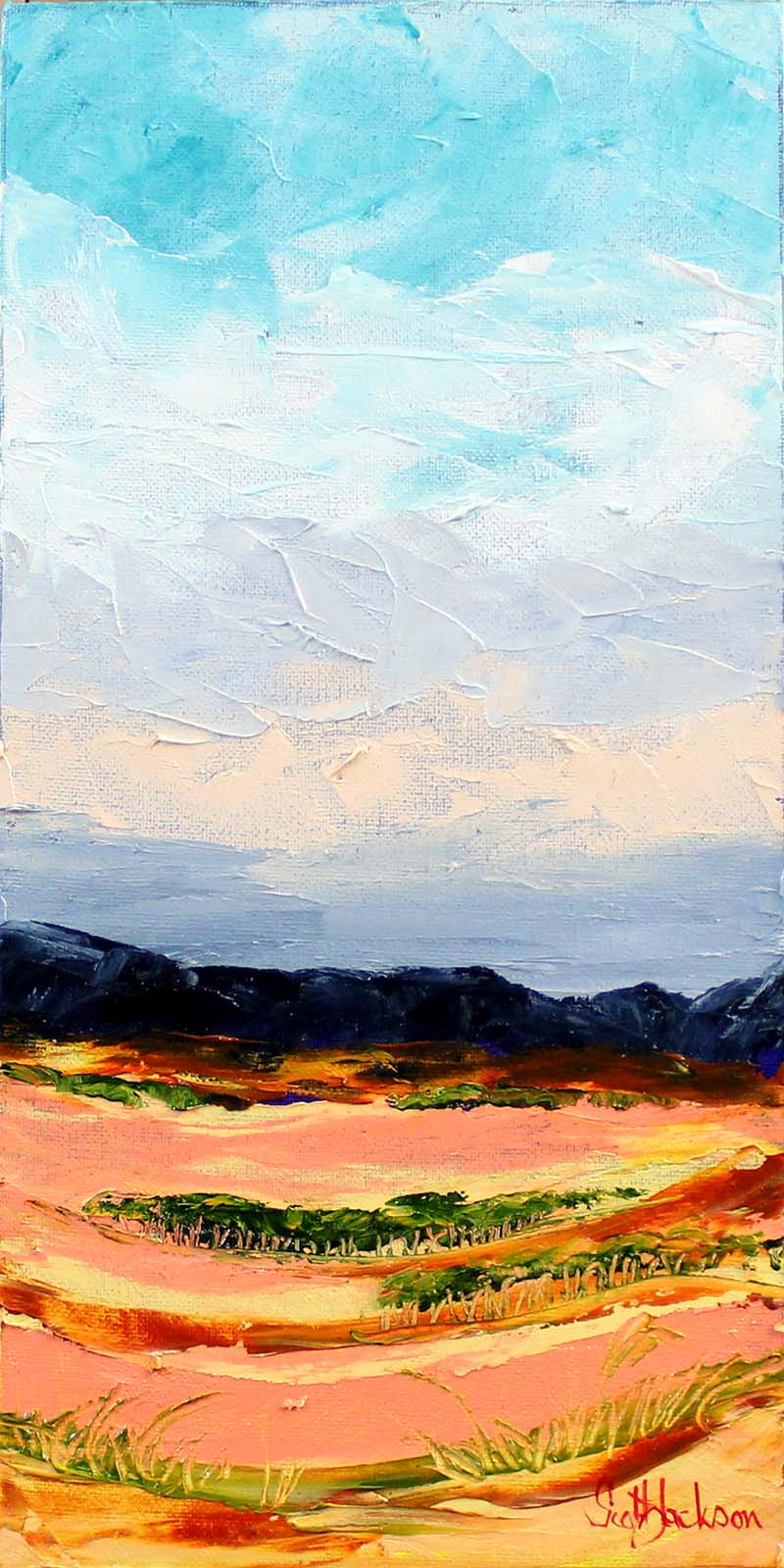 "This painting is one belonging to a triptych I painted of The Flinders Ranges in South Australia. Wild an rugged country ...and just great to camp in.....more animals than you can poke a stick at !!  Title "" Red Earth Country ""  40cm x 20cm, oil on canvas , ready to hang   sold november 2017"