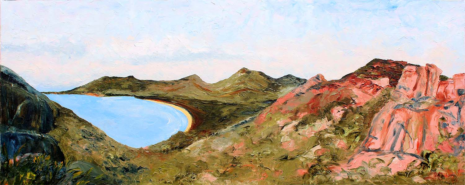"""Title """" A Special Place  ( Wineglass Bay, Tasmania) """" ..You Know you love it !!. This is a beautiful area in Tasmania.....to get to this spot you need to take a challenging walk through rocky tracks and boulder strewn bush ... Its just great ...Go There  61x153cm, Oil on Canvas, Ready to Hang,  $1730 AUD . CaN BE PURCHASED ON    bLUETHUMB    ONLINE GALLERY WITH FREE SHIPPING, INSURANCE AND 7 DAYS RETURS"""