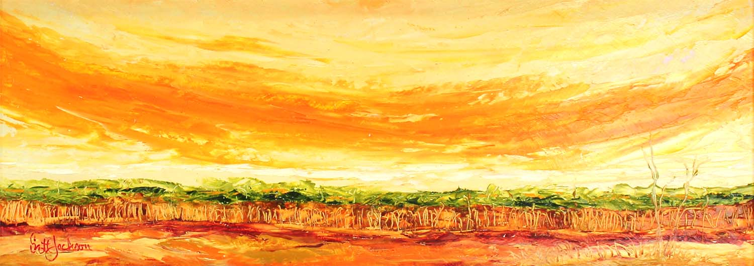 """ Orange Sky with Trees ""...another striking colour mix that a really like using ....especially the oranges and golden yellows..a small work 18 cm x 49 cm, oil on board and framed in gold,  $290 aud"