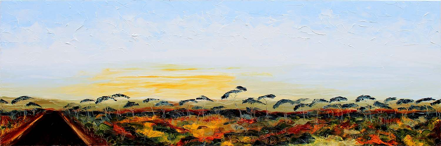"""""""  Dawn on the Nullabor Road """"... a magic place ....If you've been there at this time you will know what I mean ....If you haven't...you will want be there....beautiful lights and misty atmosphere are inspirational....  40 cm x 122 cm, Ref 0654, oil on canvas, ready to hang,  sold via BlueThumb Aug/2017"""